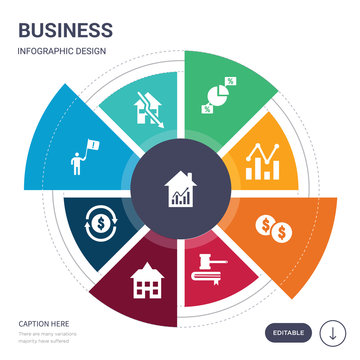 set of 9 simple business vector icons. contains such as stock exchange, sub-prime loans, supply and demand, swaps, takeover, takeover panel, takeover bid icons and others. editable infographics