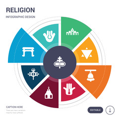 set of 9 simple religion vector icons. contains such as satanism, semitic neopaganism, shinto, shiva, shrine, spiritual, standing bell icons and others. editable infographics design