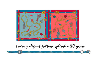 set Luxurious elegant pattern with fashion accessories the splendor of the 80s in the color of live coral and turquoise white Seamless pattern with straps