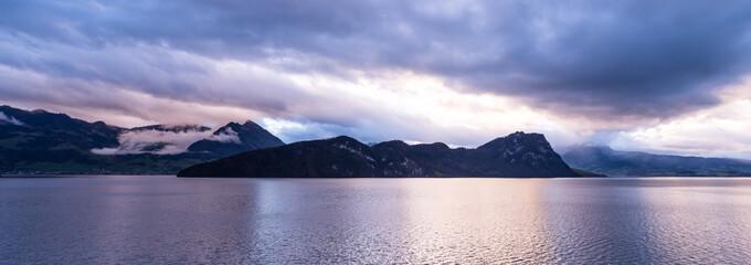 Lake Lucerne at sunset.