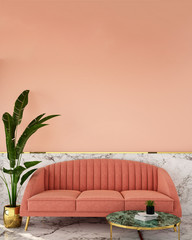 interior design for living area or reception with classic wall background ,living coral pantone / 3d illustration,3d rendering