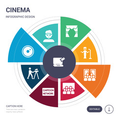 set of 9 simple cinema vector icons. contains such as buy tickets online, vip person, camera lens, cameraman, cartoon network, cinema, cinema audience icons and others. editable infographics design