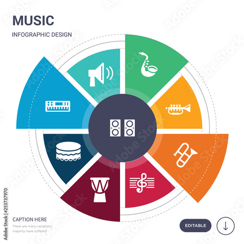 c2ffc8032 set of 9 simple music vector icons. contains such as sound system, speaker,  synthesizer, tambourine, timpani, treble clef, trombone icons and others.  ...