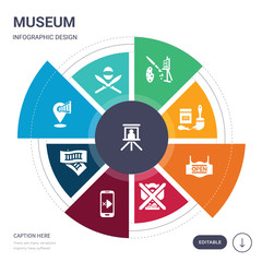 set of 9 simple museum vector icons. contains such as museum canvas, museum fencing, map, ticket, no phone, no photo, open icons and others. editable infographics design