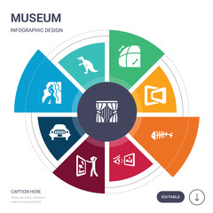 set of 9 simple museum vector icons. contains such as curtain, dinosaur, el greco, excursion, exhibit, exhibition, fishbone icons and others. editable infographics design