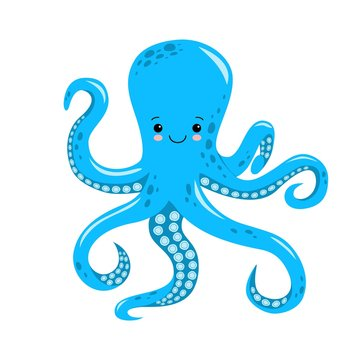 Vector cute octopus illustration isolated on white background