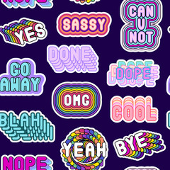 """Seamless pattern with sassy comic style words """"Cool"""", """"Can you not"""", """"Go away"""", etc isolated on black background. Patches, badges, pins, stickers."""