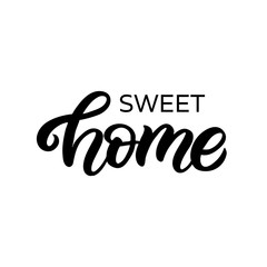 Hand drawn lettering card with heart. The inscription: Sweet home. Perfect design for greeting cards, posters, T-shirts, banners, print invitations.