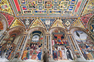 Pinturicchio's frescoes in the Piccolomini Library of the Duomo in Siena, Italy.