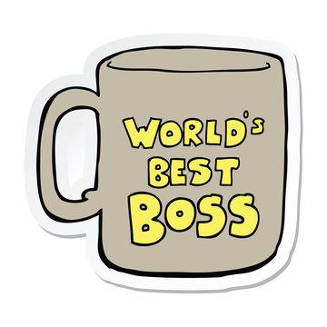 sticker of a worlds best boss mug