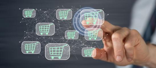 Man touching an online shopping concept