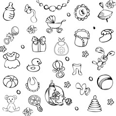 Collection of children items vector illustration