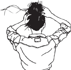 The girl in the denim jacket vector illustration