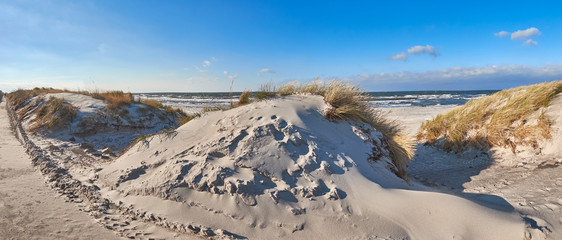 Bike path and pedestrian entrance to the beach in Hiddensee island, Baltic See in Germany, panorama