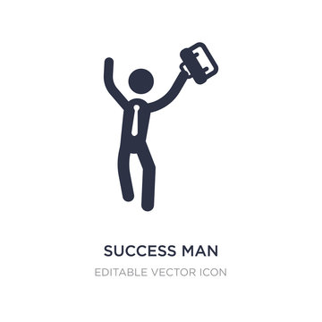 success man with suitcase icon on white background. Simple element illustration from Business concept.