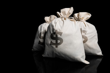 Bags of money against a black background