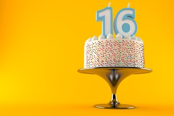 Cake with 16 number candle
