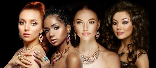 Beautiful Four models girls with set of Jewelry. Luxury girls in shine jewellry: Eearrings, Necklace, and Ring. Women in jewelry from Gold, Precious Stones, Siamonds. Beauty and accessories. Wall mural