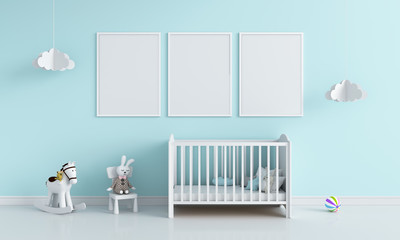 Three blank photo frame in child room for mockup, 3D rendering