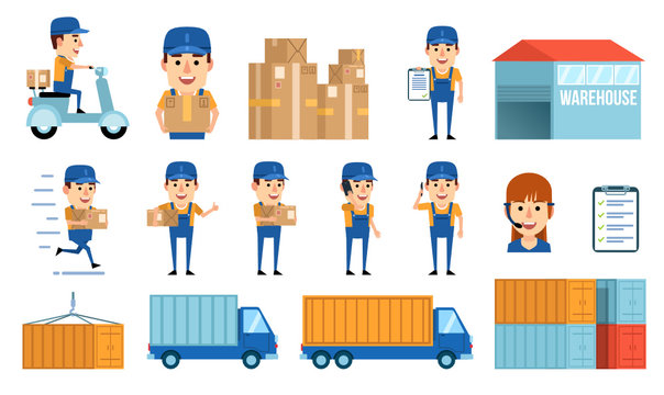 Big set of courier service design elements and characters. Warehouse, truck, call manager, container and diverse courier characters. Simple style vector illustration