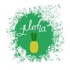 Lettering AlohaText with Pineapple. Hand Sketched Aloha Typography Sign for Badge, Icon, Banner, Tag, Illustration, Postcard Poster