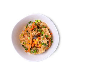 japanese food on a wooden table, fried rice with vegetables. Asian/Japanese food. Top view