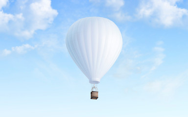 Blank white balloon with hot air mockup on sky background, 3d rendering. Empty airship fly in heaven mock up. Clear blimp with basket and gasbag for expedition template.