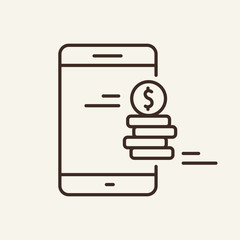 Mobile money line icon