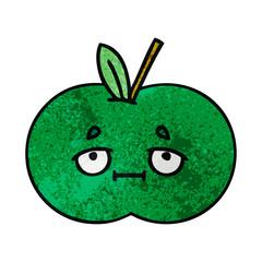retro grunge texture cartoon juicy apple
