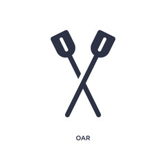 oar icon on white background. Simple element illustration from camping concept.