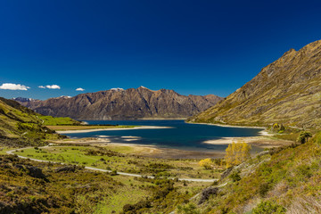 Panoramic photos of Lake Hawea and mountains, South Island, New Zealand