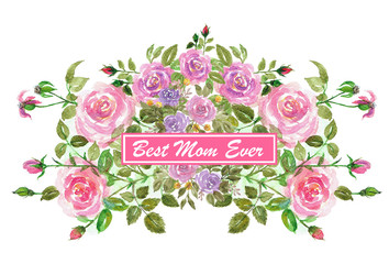 Rose bouquet isolated floral greeting card template watercolor background mother's day illustration