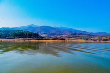 A beautiful lake and mountains in the background,in a small town in Greece Kerkini which is famous for its big lake