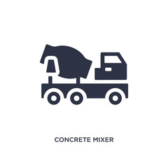 concrete mixer icon on white background. Simple element illustration from construction tools concept.