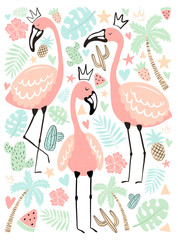 Vector illustration tropical flamingos in the leaves, palm, fruit. Summer hand-drawn poster for kids, holidays, clothes, decor.