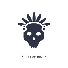 native american skull icon on white background. Simple element illustration from culture concept.