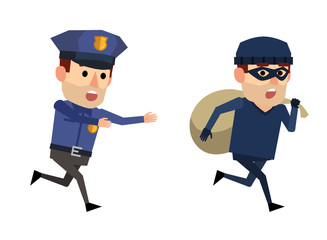 Funny policeman and thief. Robber with bag running away from police officer. Flat style vector illustration