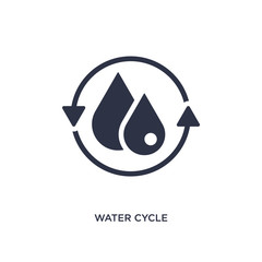 water cycle icon on white background. Simple element illustration from ecology concept.