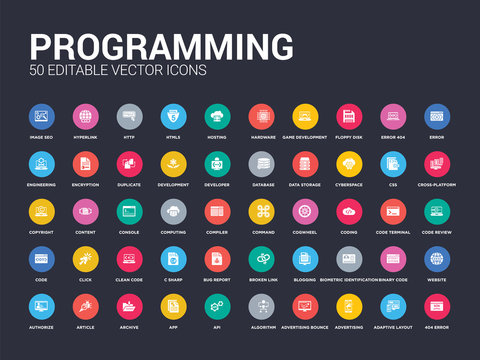 50 programming set icons such as 404 error, adaptive layout, advertising, advertising bounce, algorithm, api, app, archive, article. simple modern isolated vector icons can be use for web mobile