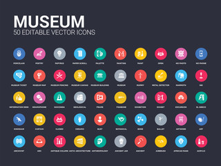 50 museum set icons such as acrylic, african mask, airbrush, ancient, ancient jar, anthropology, antic architecture, antique column, arc. simple modern isolated vector icons can be use for web