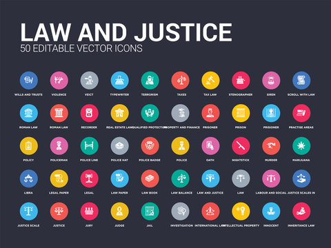 50 law and justice set icons such as inheritance law, innocent, intellectual property, international law, investigation, jail, judge, jury, justice. simple modern isolated vector icons can be use