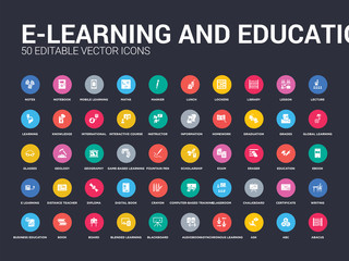 50 e-learning and education set icons such as abacus, abc, ask, asynchronous learning, audiobook, blackboard, blended learning, board, book. simple modern isolated vector icons can be use for web