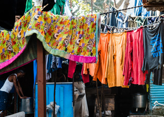 India is a very colourful country; especially when it comes to clothing and other fabrics. This image is from the Dhobi Ghat slum district in Mumbai, India.