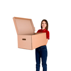 Young delivey person is holding a big opened parcel box isolated on white background