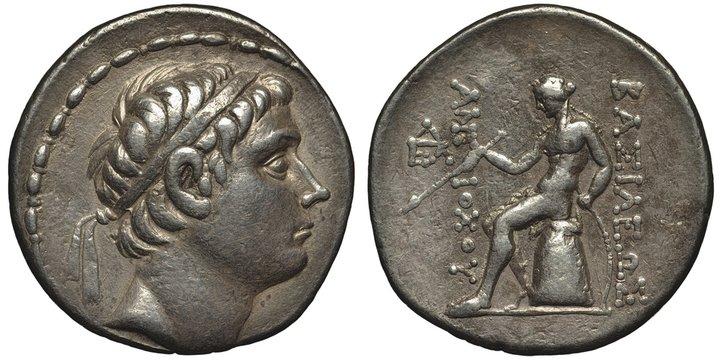 Seleucid Empire ancient silver coin tetradrachm 223-210 B.C., ruler Antiochus III the Great, Tsar's head in diadem right, city of Antioch mint, head in diadem, sitting Apollo holding arrow,
