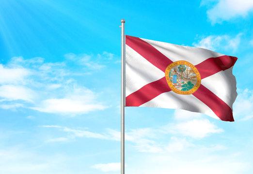 Florida state of United States flag waving sky background 3D illustration