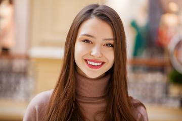 Happy beautiful brunette woman