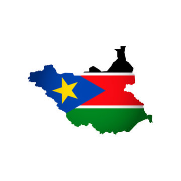 Vector isolated simplified illustration icon with silhouette of South Sudan map. National flag. White background
