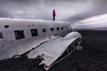 Abandoned plane wreck near the Solheimasandur black beach in South Iceland