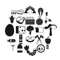 Camping trip icons set. Simple set of 25 camping trip vector icons for web isolated on white background
